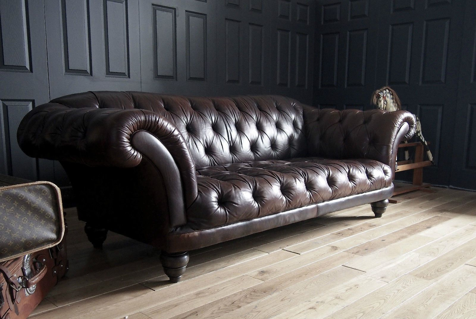 Tetrad Ribchester Oned Antiqued Oak Brown Leather Chesterfield Sofa Rp 3195 Ebay