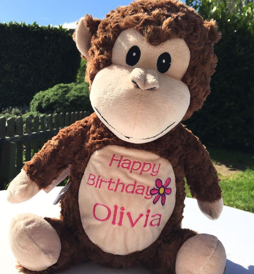 Personalised Soft Toy Animal Cubbie Monkey Personalized