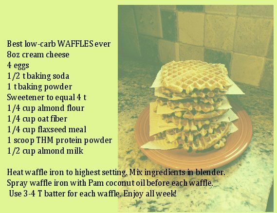 Best low-carb WAFFLES ever S  Pam Haynes Keeling   My approximate calculations if you make 10: 129 calories, 5g protein and 2.2g net carbs  4 grams fiber each.