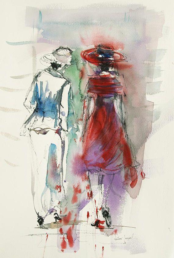 Aquarelle Originale De Deux Femmesen Robe Rouge Et Chapeau