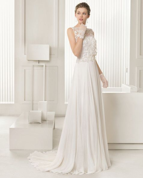 Tulle and chiffon dress with beadwork embroidery in a natural colour. G04- Beaded lace and tulle gloves, short, natural colour.