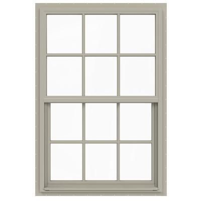 Jeld Wen 36 In X 54 In V 4500 Series Desert Sand Single Hung Vinyl Window With 6 Lite Colonial Grids Grilles Reliabilt Double Hung Windows Double Hung
