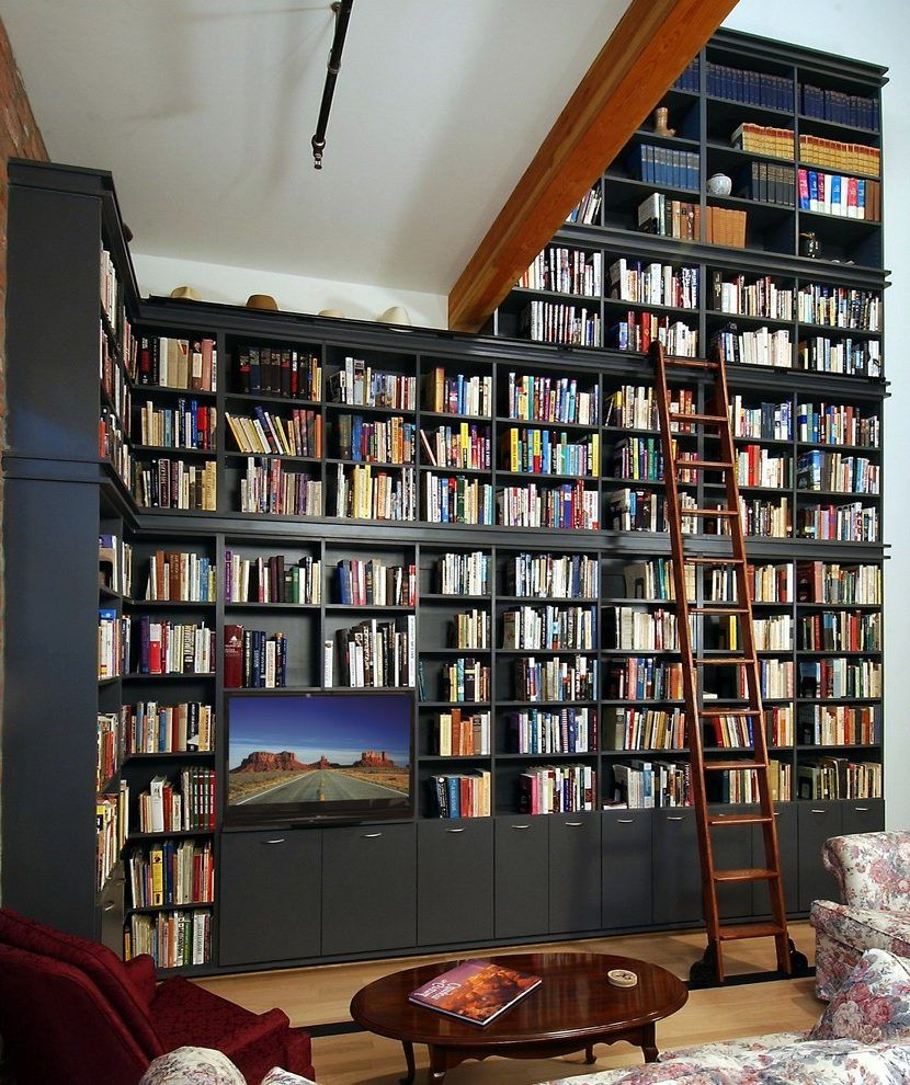 Phoenix Full Wall Bookshelves With Modern Bookcases Living Room