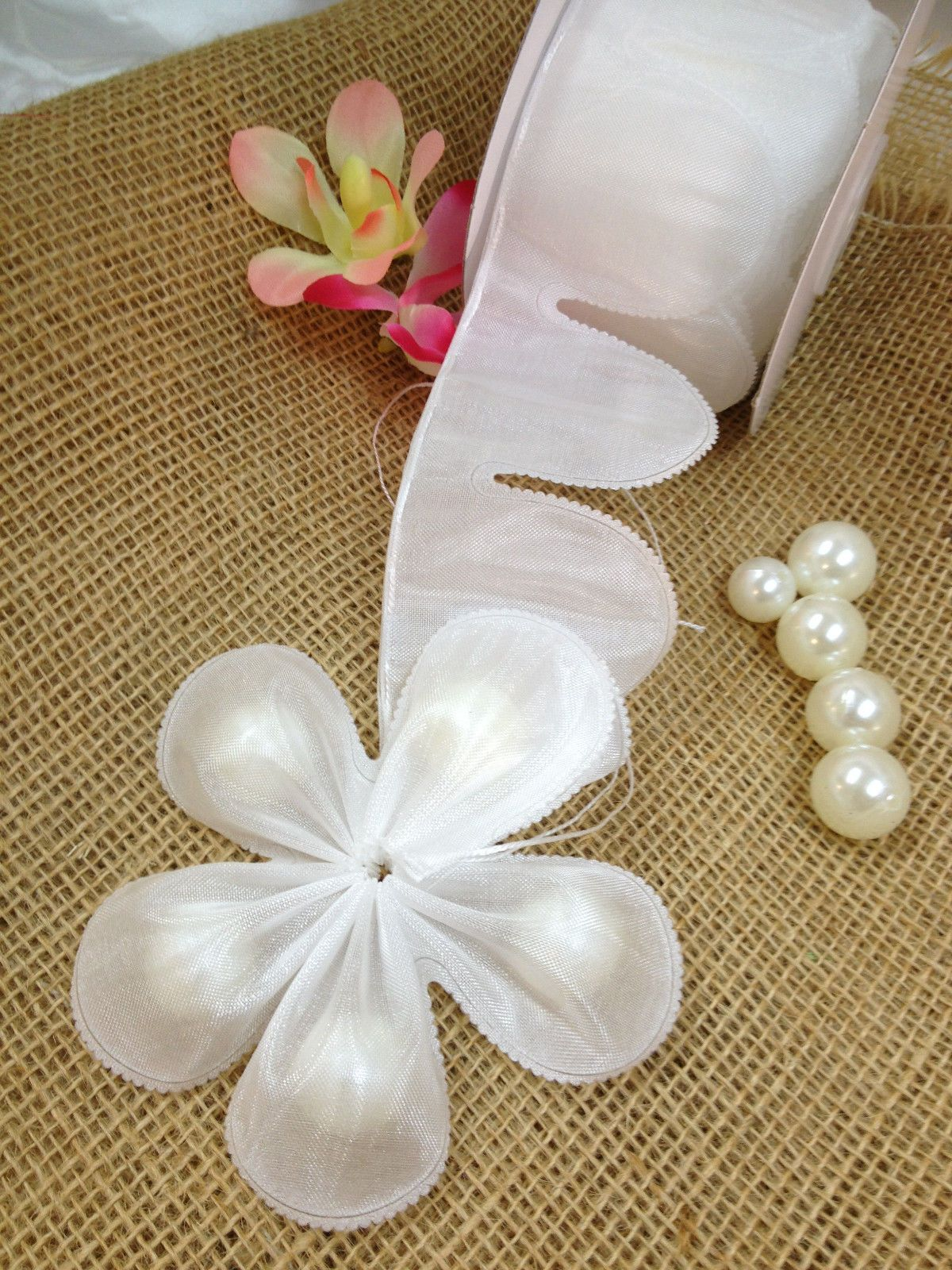 White Flower Petal PULL Bow JORDAN ALMONDS CANDY BOW Ribbon decor ...