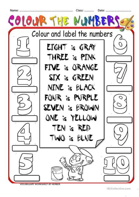 Colour The Numbers Worksheet  Free Esl Printable Worksheets Made