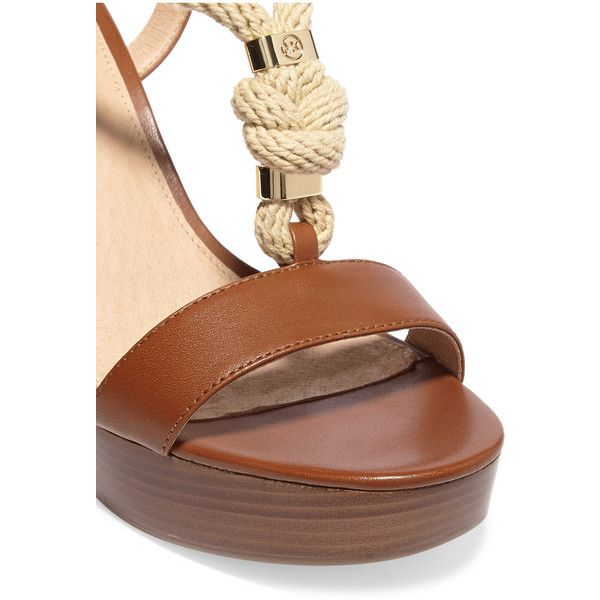 Michael Michael Kors Holly rope-trimmed leather platform sandals ($165) ❤ liked on Polyvore featuring shoes, sandals, t strap sandals, high heel platform sandals, leather sandals, slingback sandals and t strap shoes