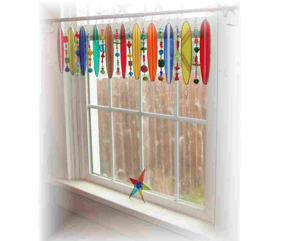 Stained Glass Surfboard Whimsy Window Treatment Curtain