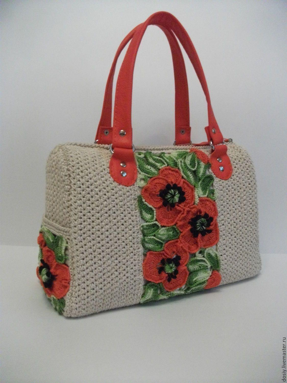a8f05983d60f Купить вязаная сумка-саквояж с цветами. - белый, вязаная сумка, вязаная  крючком