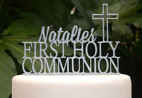 CROSS CHRISTENING BOYS CUSTOM NAME GLITTER CAKE TOPPER BAPTISM HOLLY COMMUNION