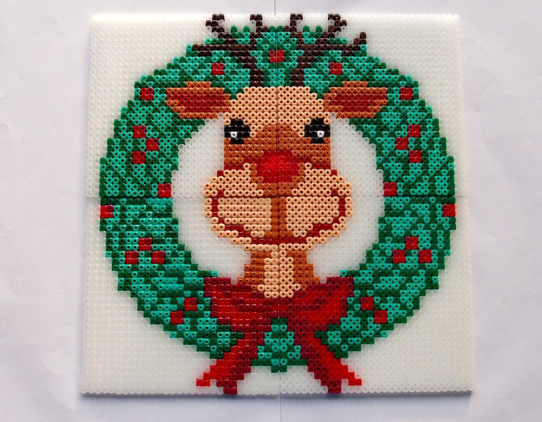 hama perler beads - Rudolf by: Nina V. Kristensen