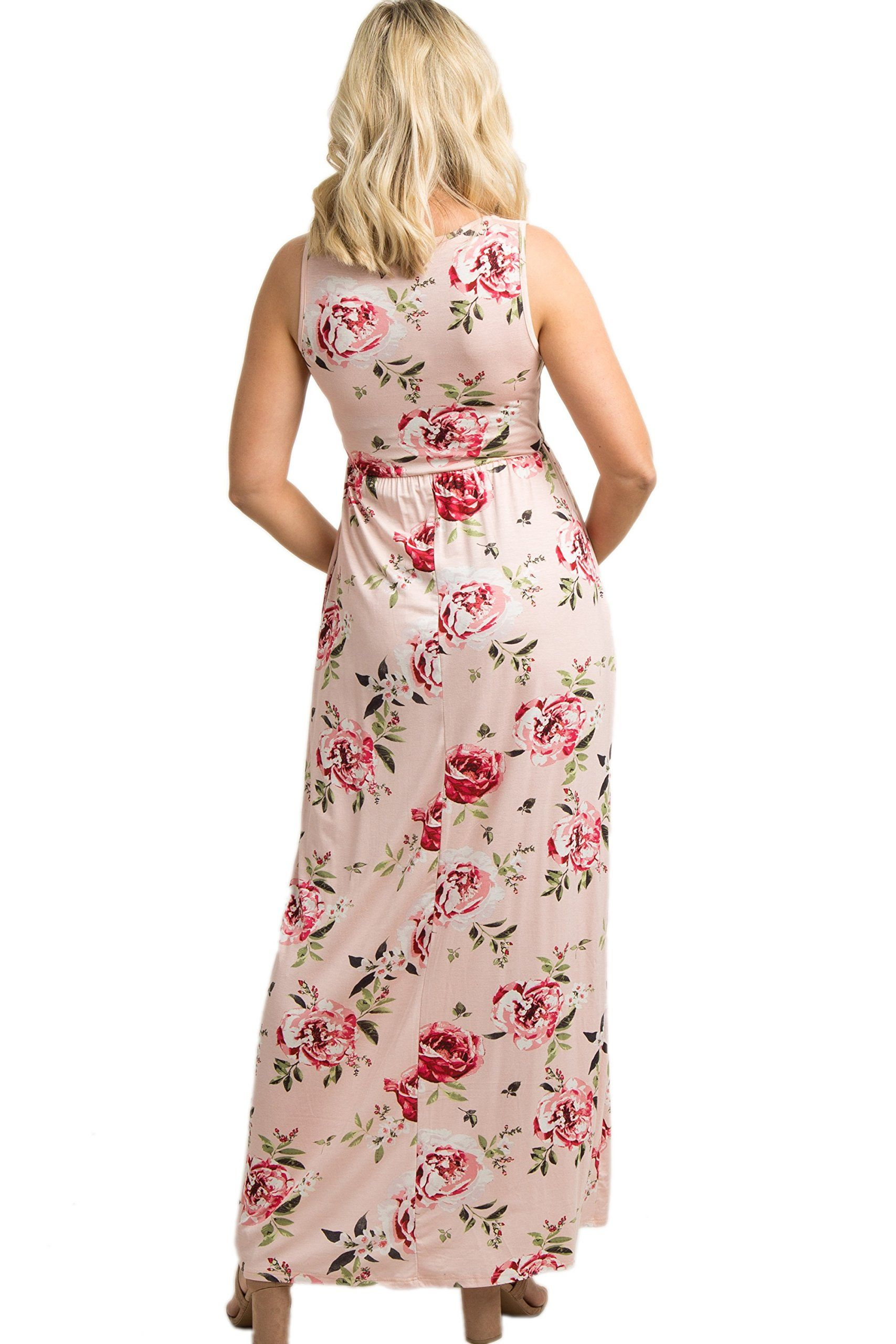 c351fa20bf1cf Maternity Fashion - PinkBlush Maternity Pink Rose Print Sleeveless Maxi  Dress Large *** You can discover even more information by seeing the image  link.