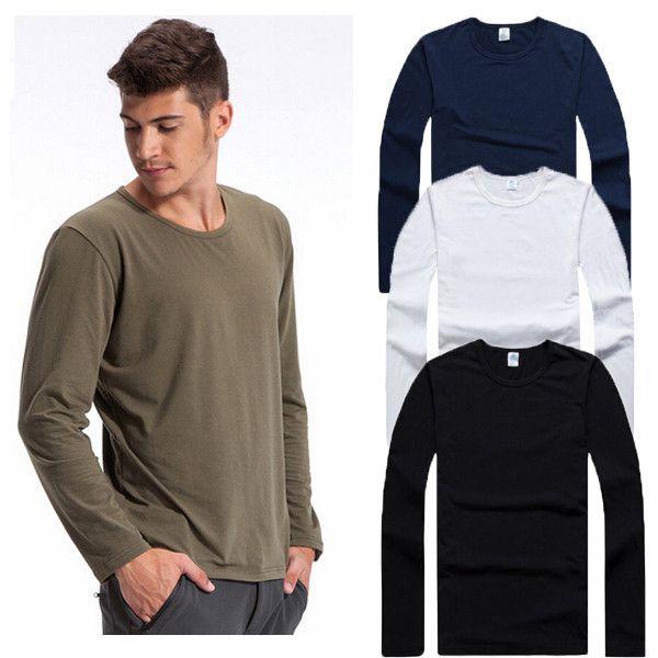 Men Long Sleeve Baseball Shirt Sports Tops Casual Crew Neck Pullover Cotton Tops