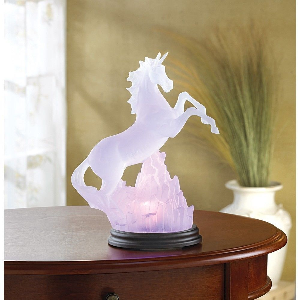Frosted Unicorn Table Night Light Changing Colors Fantasy Table ...