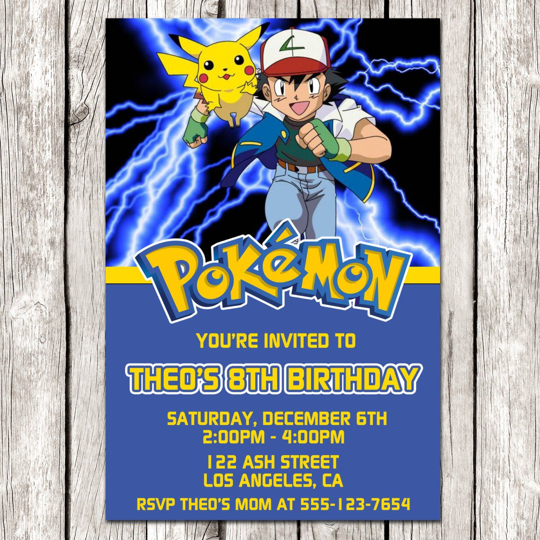 Pokemon Electronic Birthday Invitations