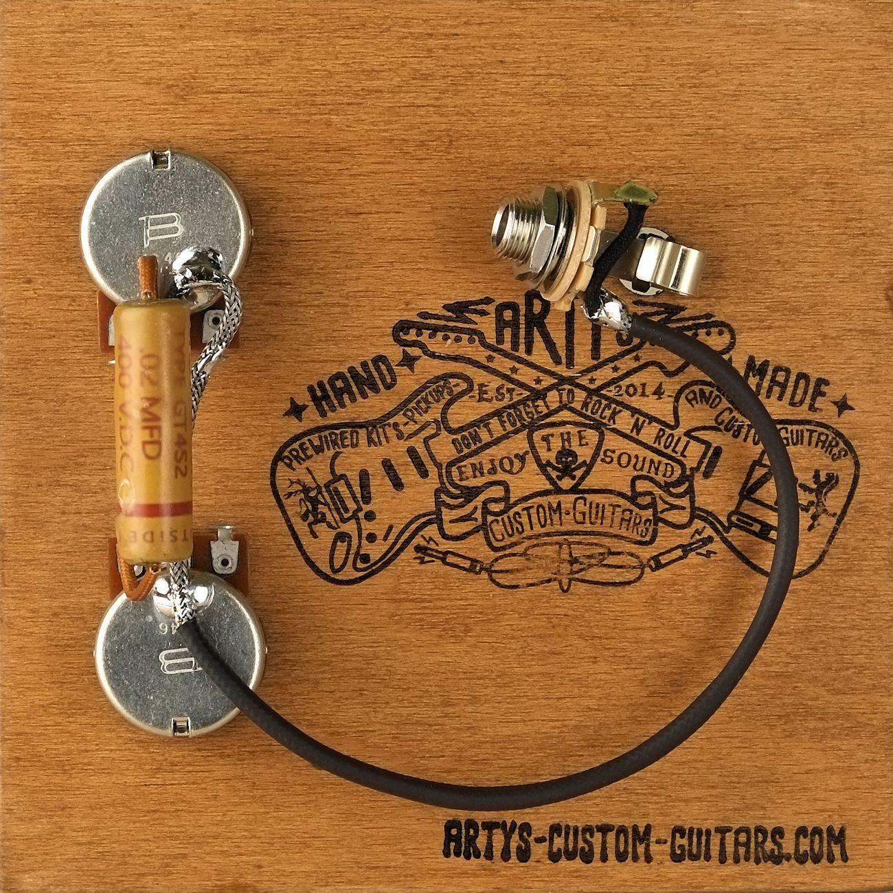 arty s custom guitars vintage les paul junior jr pre wired prewired kit grey tiger [ 1300 x 1300 Pixel ]