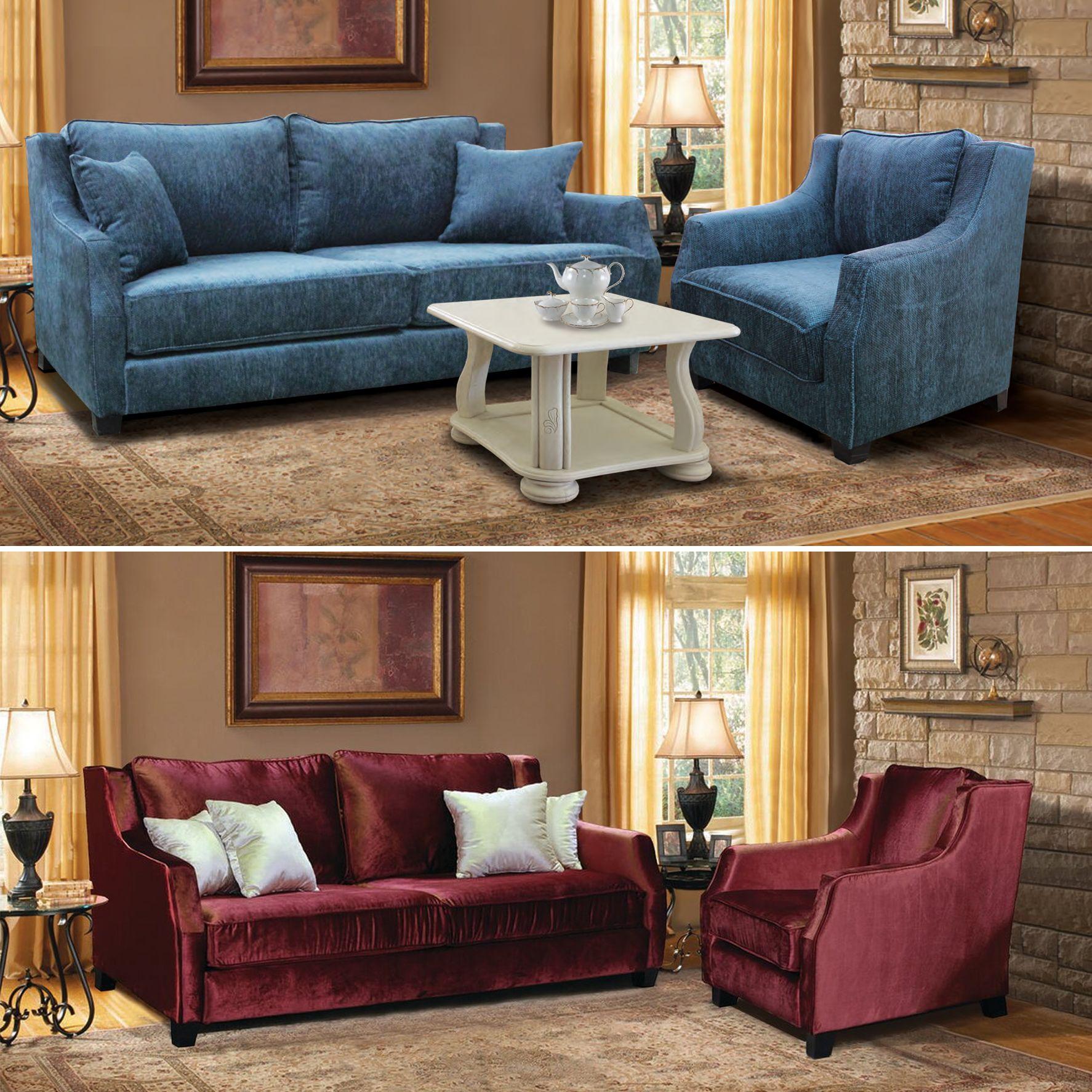 Brighton Couchgarnitur 2 Sitzer Schlafcouch Mit 2 Sesseln Blau Rot In 2020 Sessel Couch Couch Mit Schlaffunktion