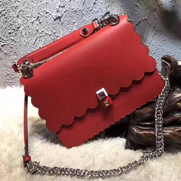 171cec4bce Fendi KAN I Crossbody Medium Bag With Scalloped Edge Red 2017(Original  Leather)
