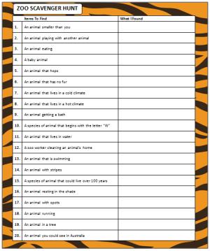 Zoo Scavenger Hunt (free printable game | Zoo Scavenger Hunt | Zoo ...