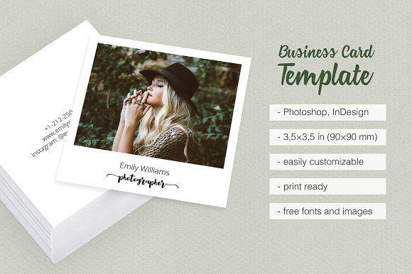 Square Polaroid Business Card Photographer Affiliate Papeterie Cartes
