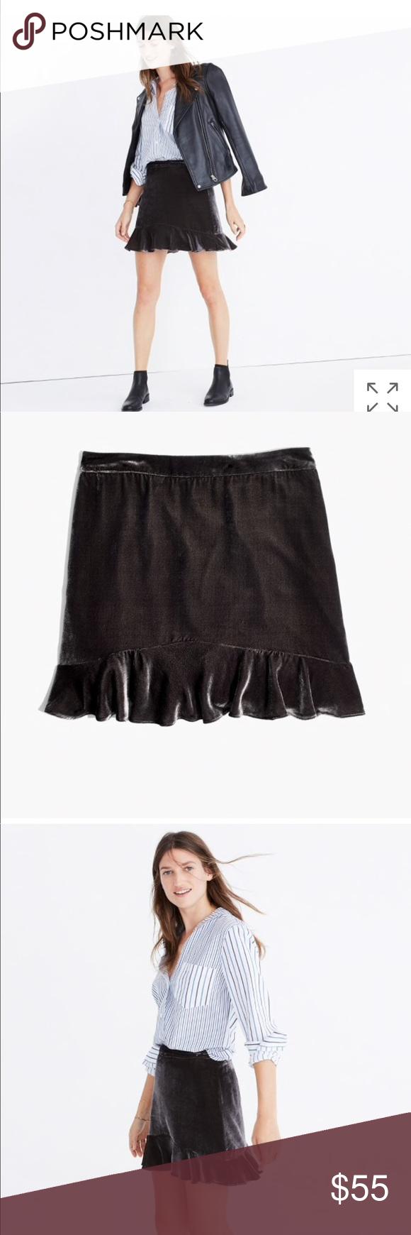 15c9cc6c9 Madewell/velvet ruffle-edge skirt/Size 4 BRAND NEW Madewell velvet ruffle-