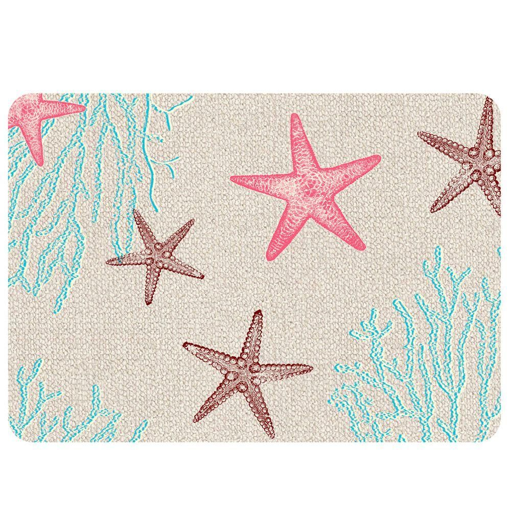 Bungalow Flooring Starfish Hooked 2 Multi 22 in. x 31 in