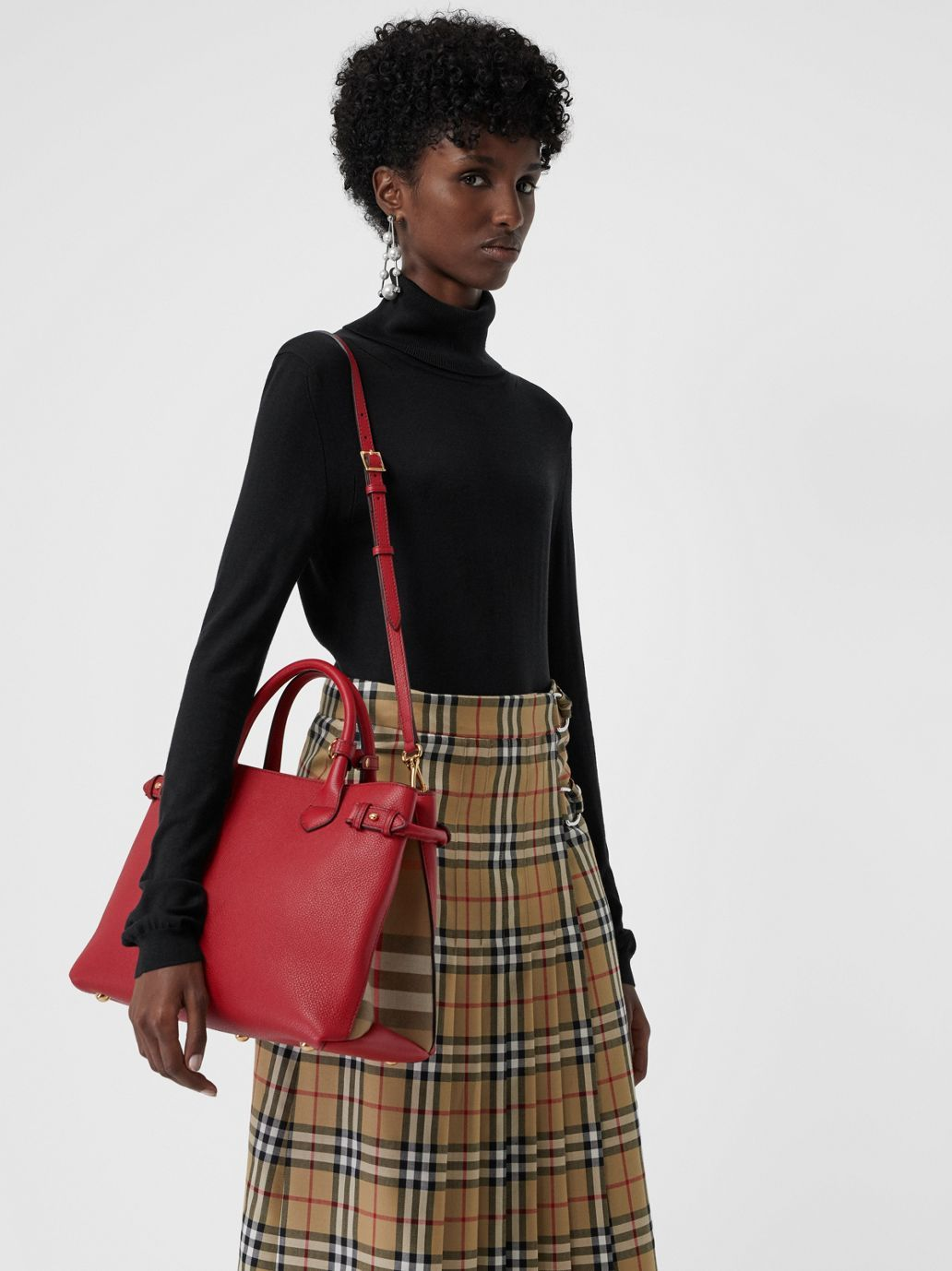 bcb28204b49e The Medium Banner in Leather and House Check in Russet Red - Women |  Burberry United States - cell image 3