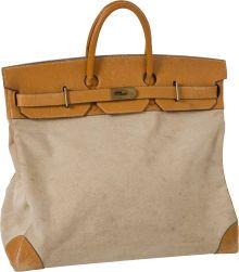 2d863ec19a Heritage Vintage  Hermes 55cm Toile   Vache Naturelle HAC Travel Birkin Bag  with Palladium Hardware