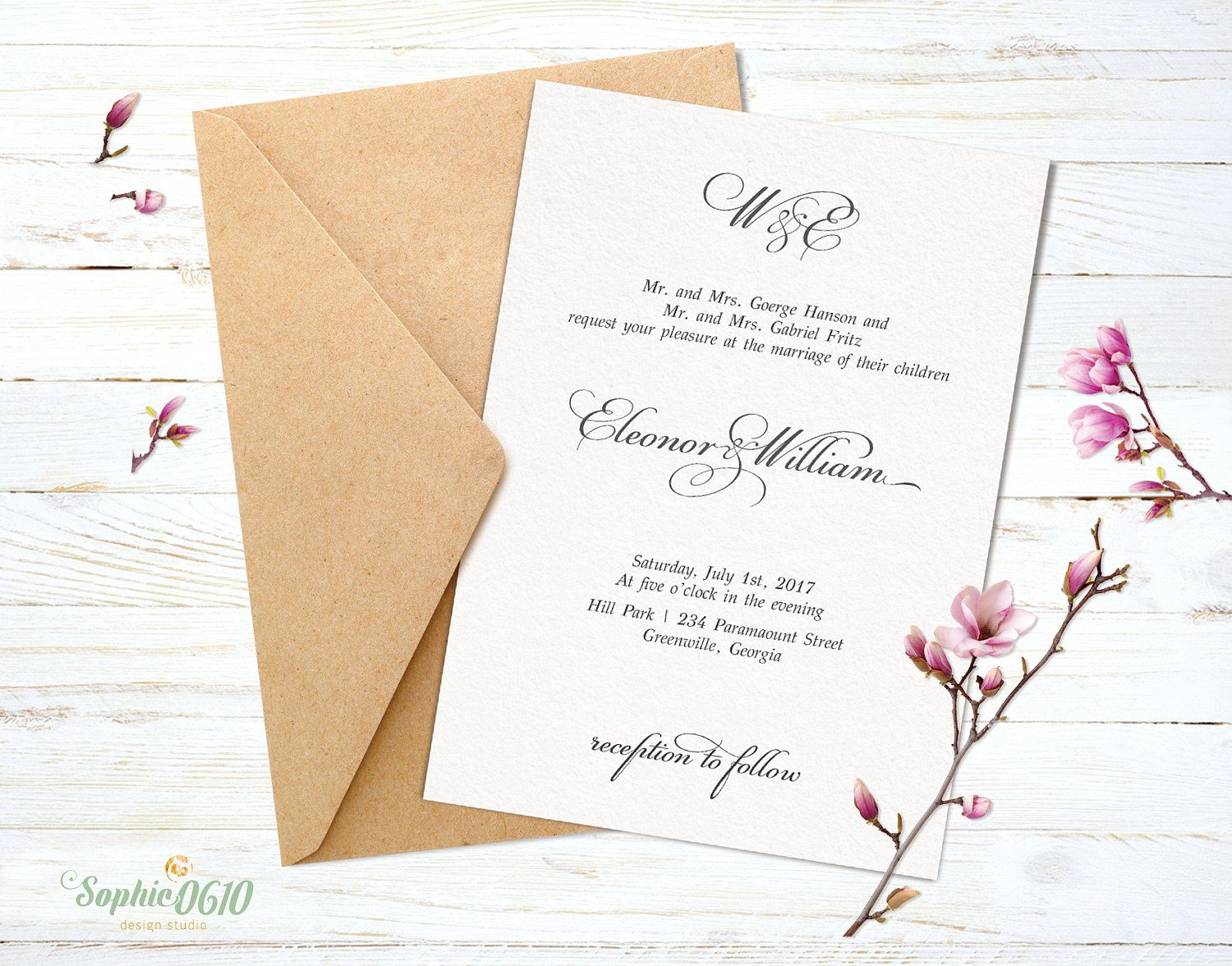 Printable simple wedding invitation with calligraphy text by Sophie0610Designs on Etsy