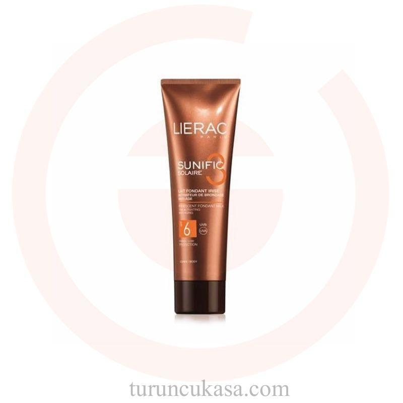Lierac Sunific Suncare3 Iridescent Melt-In Milk Spf6 125ml Ürünün cildinizde beyazlık bırakmayan ve cildi yağlandırmadan nemlendiren özelliği sayesinde kullanımı çok kolaydır. Hiçbir rahatsızlık hissi yaşamadan cilt tarafından kolayca emilerek nem sağlamaya da yardım eder.  Bronzlaşmış cildi sevenlerin daha rahat bu etkiyi sağlamasına yardım eden güneş sütü, kokusu ile de cildinizde parfüm hissi sağlamaya yardım edecek.