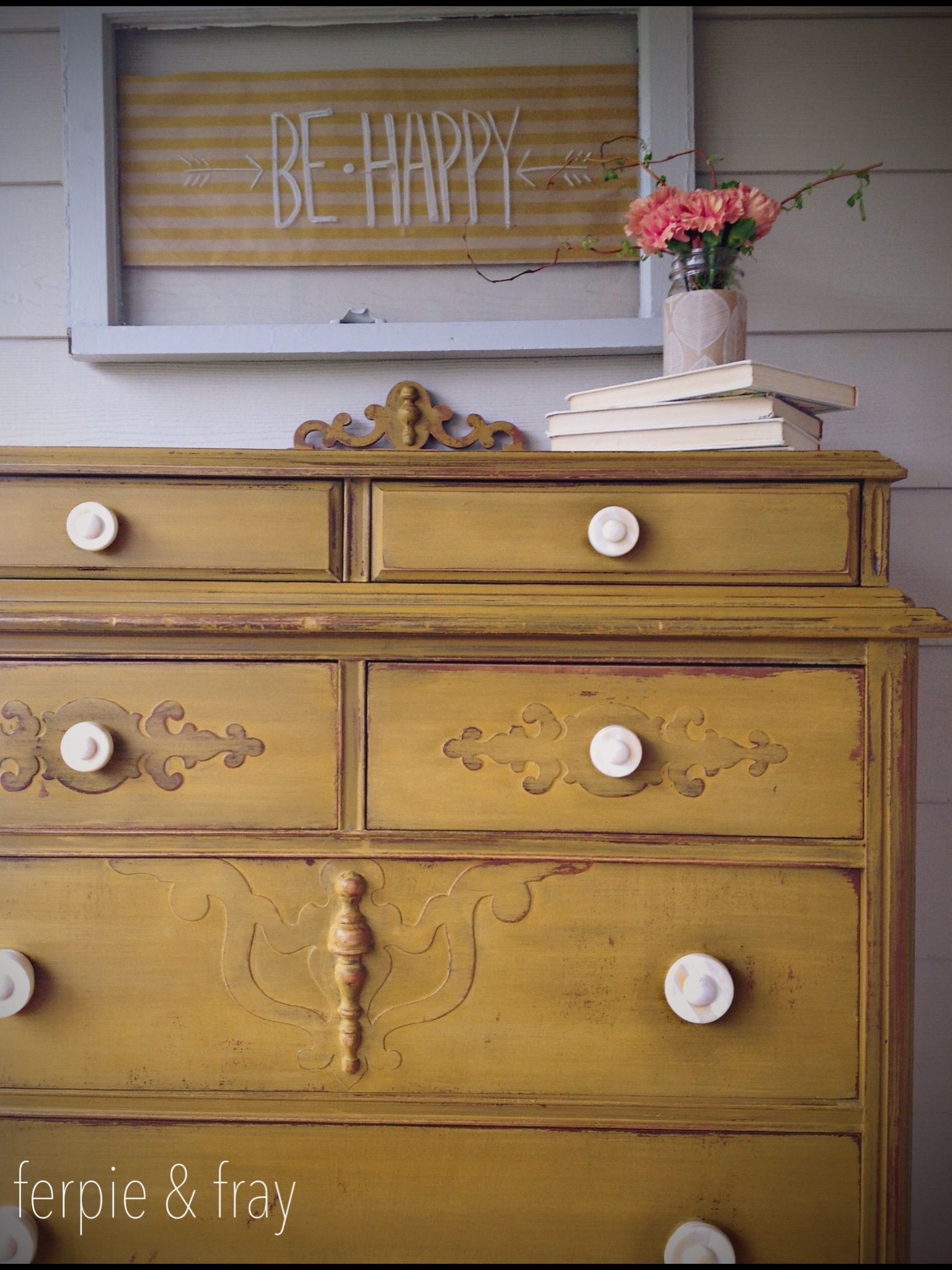 Dresser Painted By Ferpie And Fray In Mustard By Old