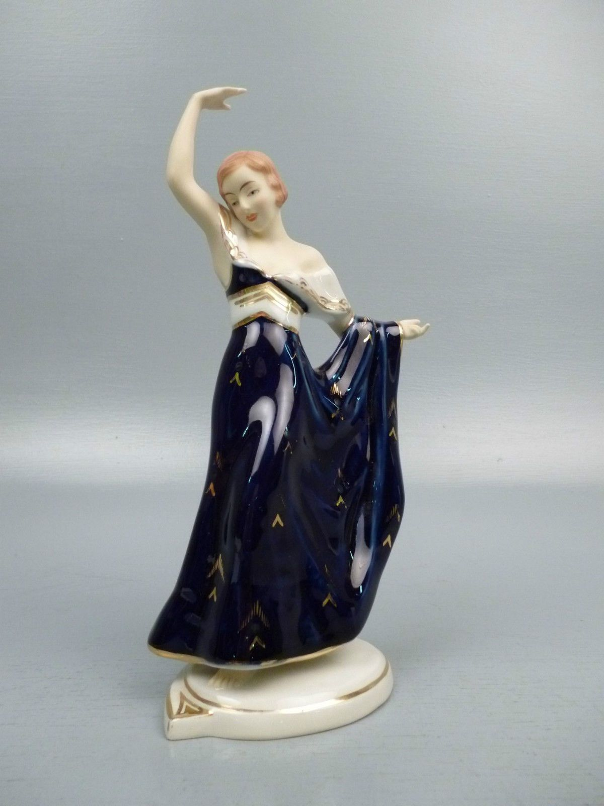 Art Deco Royal Dux Porcelain Lady Dancer Figurine Elly Strobach