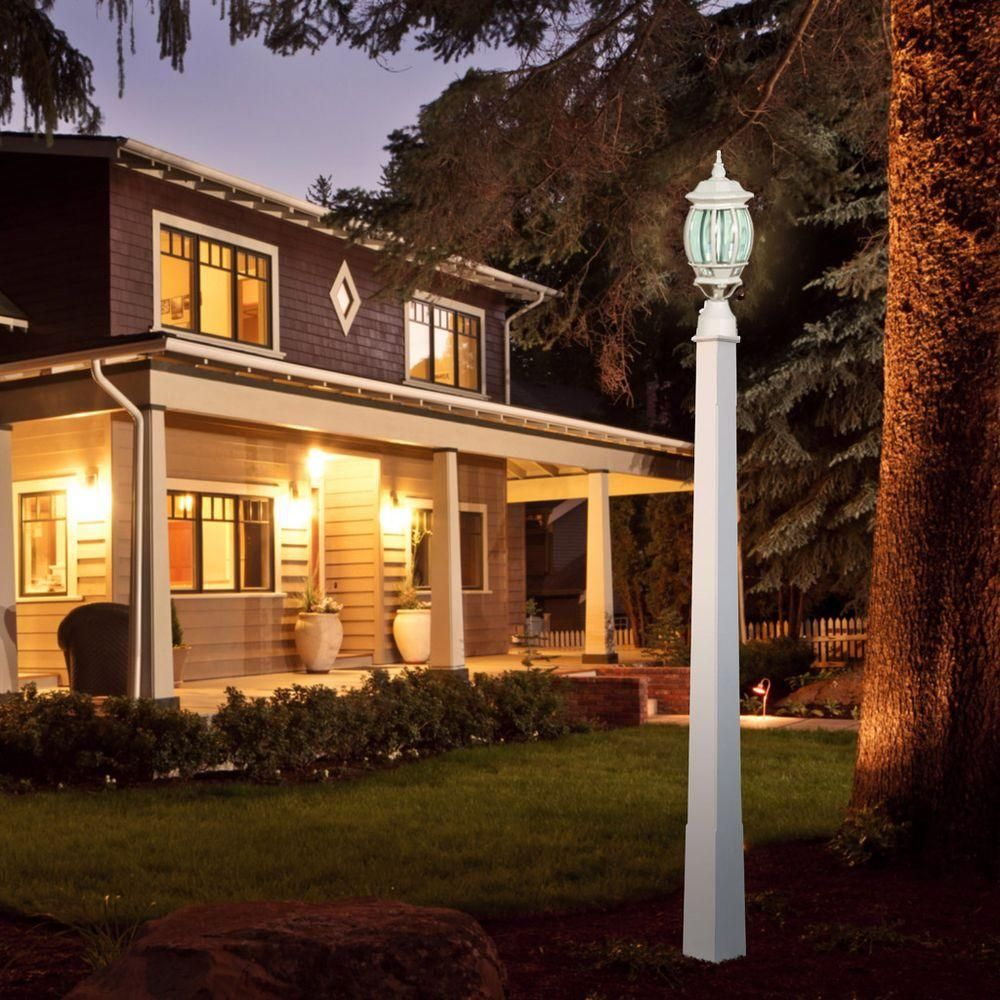 glomar central park 3 light white outdoor post lantern with clear