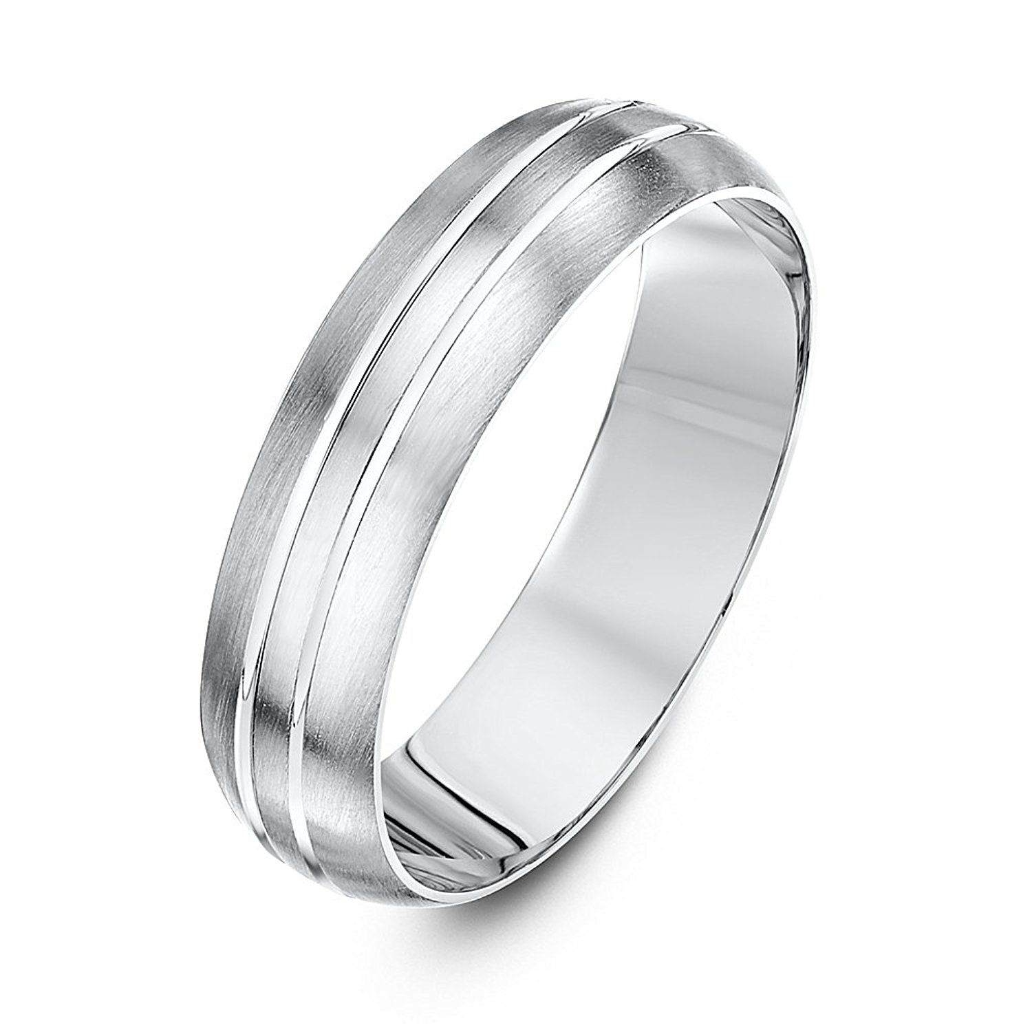 Theia Super Heavy Weight Flat Shape Matt with Two Polished Grooves 9 ct Gold Wedding Ring rf8gXr