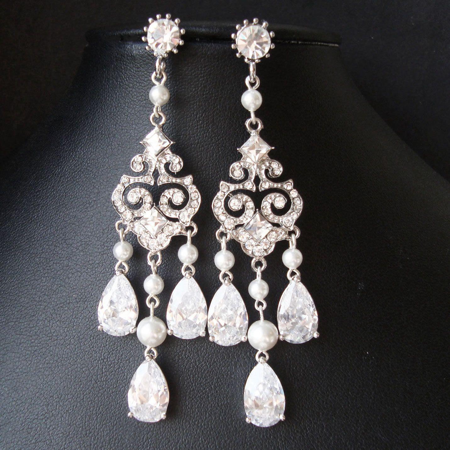 Art deco style chandelier bridal earrings vintage inspired bridal art deco style chandelier bridal earrings vintage inspired bridal wedding earrings statement chandelier earrings arubaitofo Choice Image