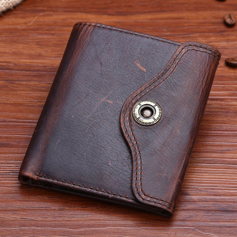 Women/'s Genuine Leather Wallet Money Card Holder Multifunction Snap Closure Men