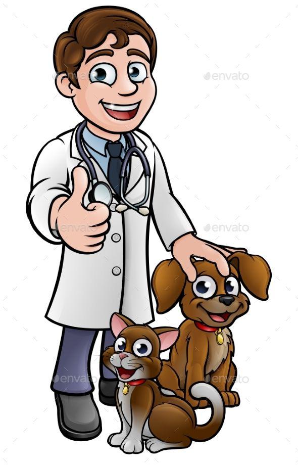 Vet Cartoon Character With Pet Cat And Dog Vet Cartoon Pets Cats Dog Cat