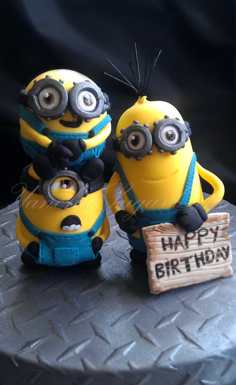 Edible fondant Minion Despicable cake topper set 3 figures Minion