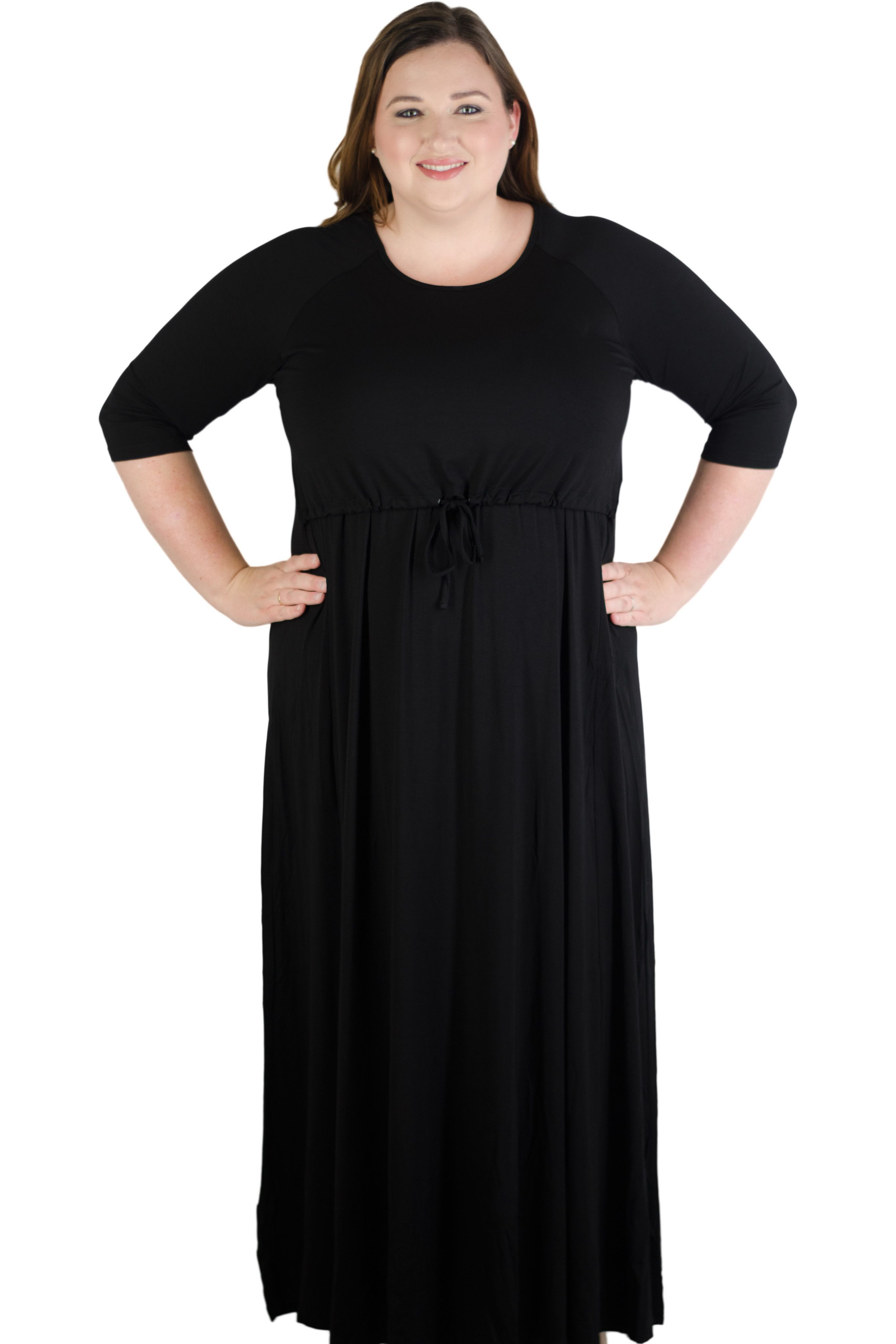 8bec817bb149d5 Latched Mama Plus 3/4 Sleeve Drawstring Maxi Dress | Nursing ...