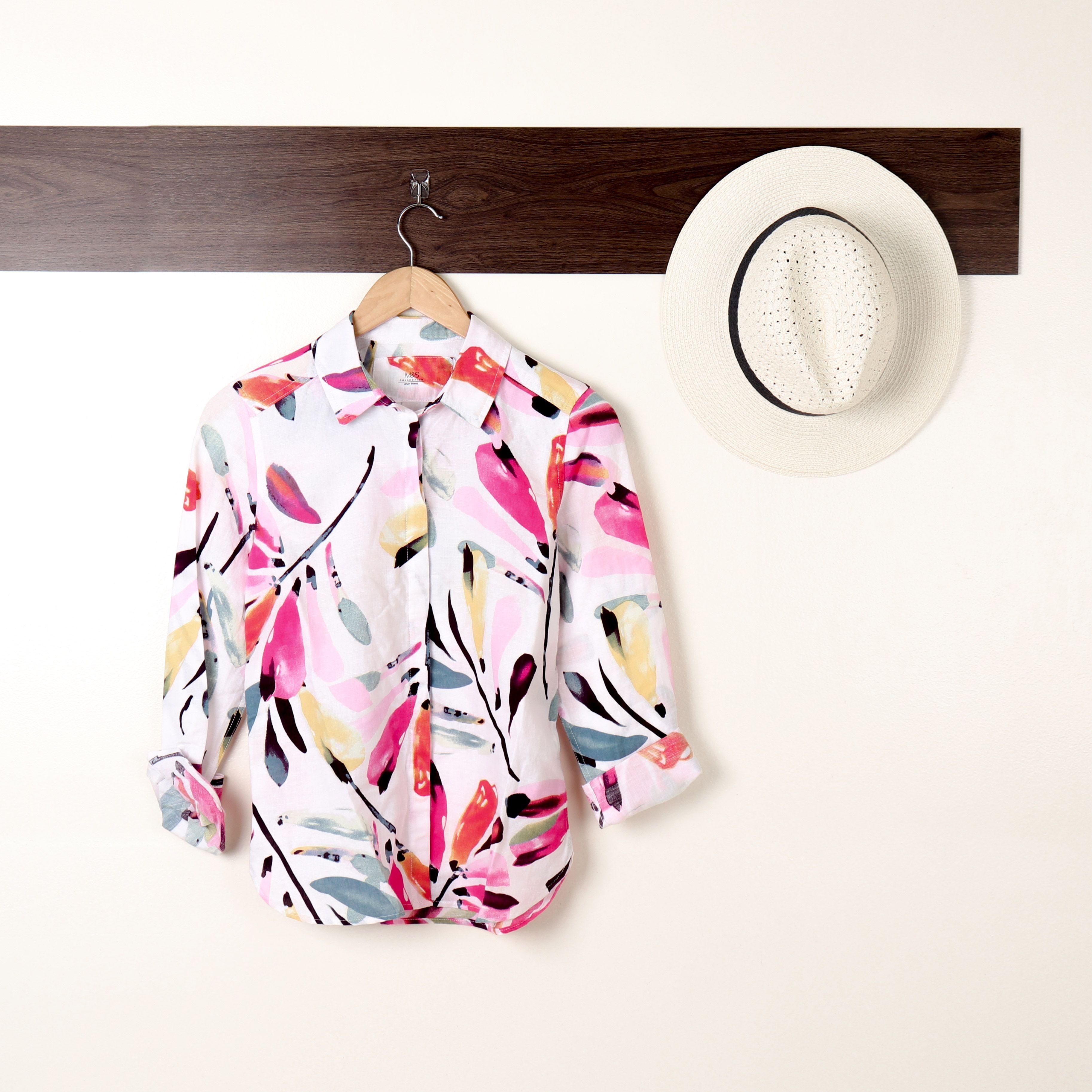 8f5d177d702 Top  Linen Rich Floral Print Long Sleeve Shirt Hat  Textured Fedora Sun Hat