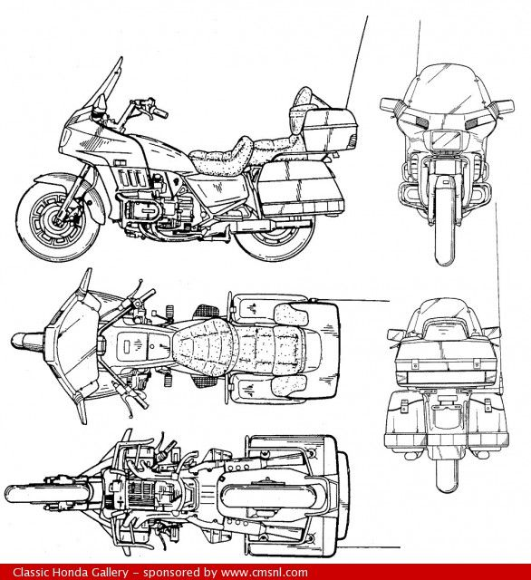 Honda Goldwing - technical drawing (plan) | Goldwing motorcycles, Goldwing,  Honda motorcycle partsPinterest