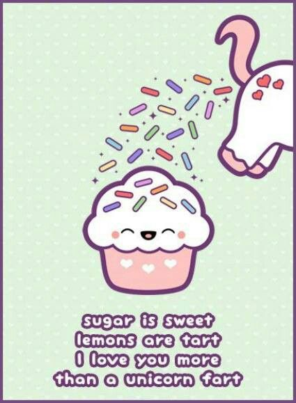 Sugar is sweet lemons are tart I love you more than a unicorn – Farting Birthday Cards