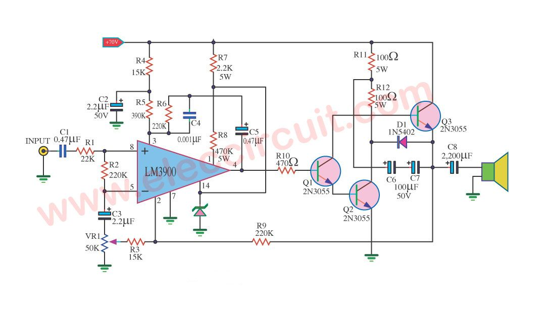 2n3055 amplifier circuit with pcb circuits hifi amplifier