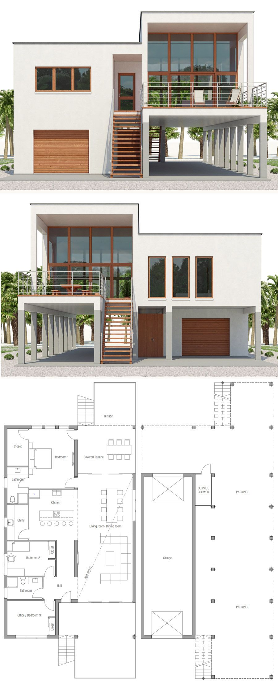 Coastal House Plan, Beach Home Plan, Home Plan, House Plans, Floor Plans #beachhouse #beachhousedecor #homedesign #homeplan #houseplans #adhouseplans #strandhuis