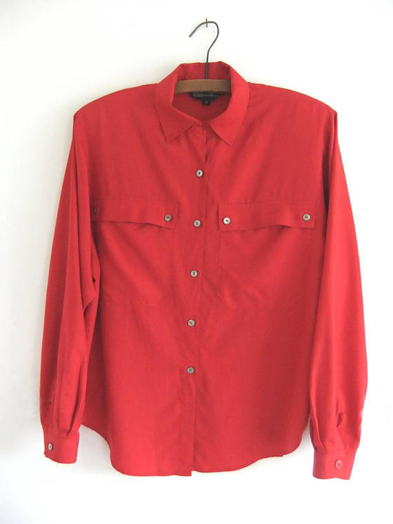 a1580a0b Cherry Red Silk Blouse - Minimalist Flowy Preppy 90s Long Sleeve Button  Down Shirt - Womens Large