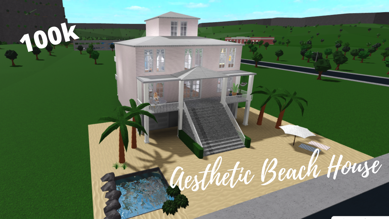 Roblox L Bloxburg Aesthetic Beach House Tour Speedbuild 100k Cheap Beach House Beach House Tour Beach Aesthetic