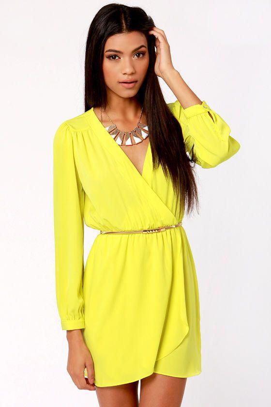 That S A Wrap Neon Yellow Long Sleeve Dress Clothing Neon Yellow Dresses Yellow Long Sleeve Dress Fashion