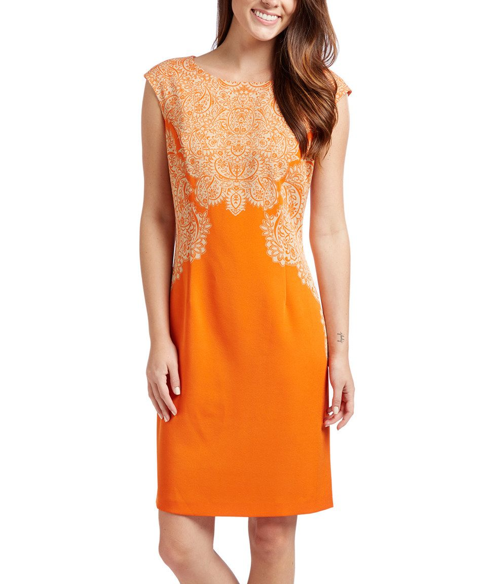 Orange Tan Arabesque Sheath Dress Dresses Zulily Fashion Lovely Dresses [ jpg ]