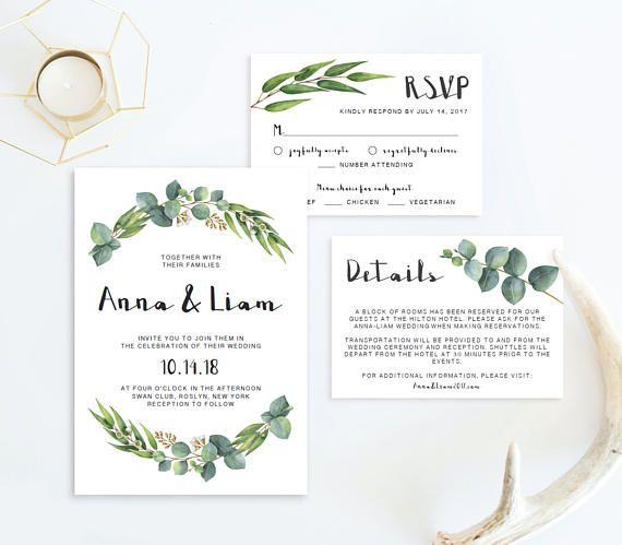 Garden Wedding Invitation Suite Template Download Nature Wedding