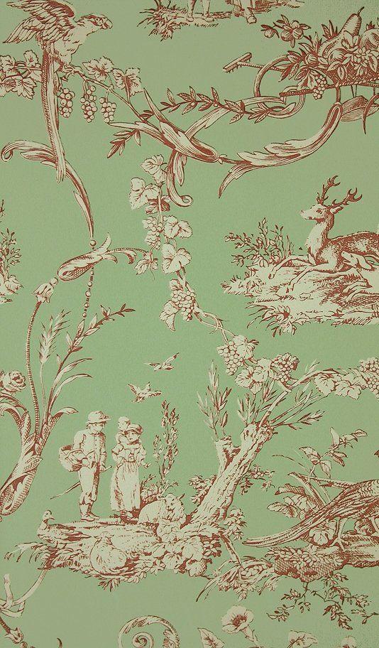 Green Toile Wallpaper