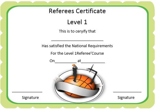 Basketball Referee Certificate  Basketball Certificate Template